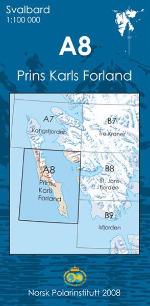 A8 Prins Karls Forland 1:100 000 Svalbardkart - Lnr 8804