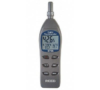 REED 8706 Digital Psychrometer / Thermo-Hygrometer, Wet Bulb, Dew Point, Temperature, Humidity